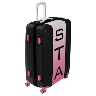 LARGE Black + White-Pink Ombre Monogram Luggage