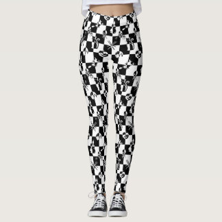 Large Black & White Vintage Halloween Disco Check Leggings