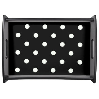 LARGE BLACK WITH WHITE POLKA DOTS SERVING TRAY