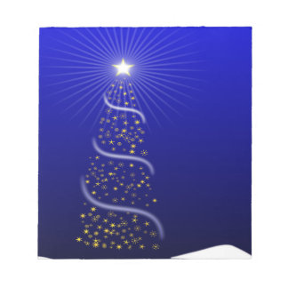 Large Blue Christmas Tree with Golden Stars Notepad