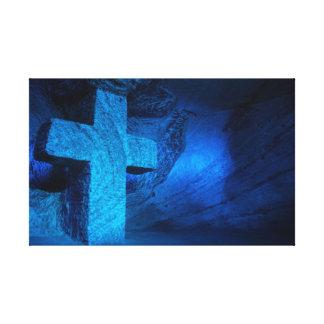 Large Blue Cross Canvas Print