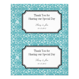 Large blue damask diy wedding gift bag hang tag flyer