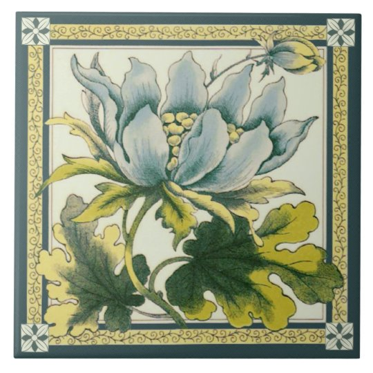 Large Blue Floral Victorian Repro Ceramic Tile