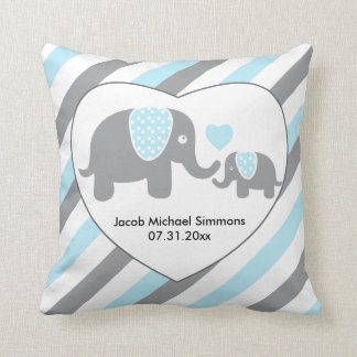 Large Blue, Gray and White Stripe Elephants Cushion