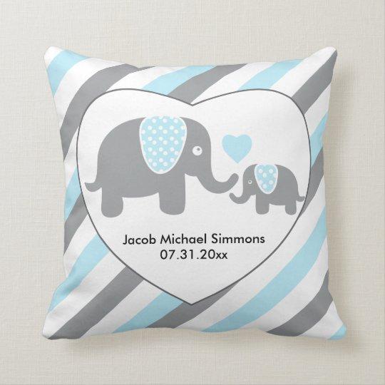 Large Blue, Grey and White Stripe Elephants Cushion