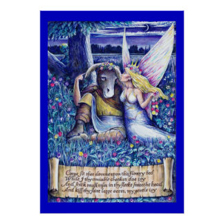 Large Bottom and Titania Poster