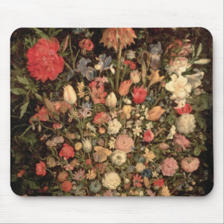 Large bouquet of flowers in a wooden tub mouse pad