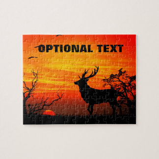 Large Buck Silhouetted Against Fiery Sunset Jigsaw Puzzle