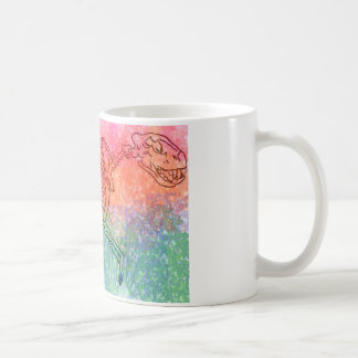 Large cat skeleton watercolour splatter Bright Coffee Mug