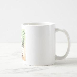 Large cat skeleton watercolour splatter oran/green coffee mug