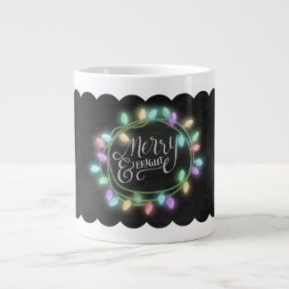 Large Chalk Drawn Merry and Bright with Lights Jumbo Mug