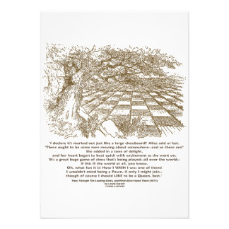 Large Chessboard Alice Through Looking Glass Quote Invite
