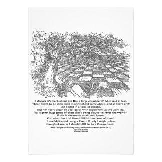 Large Chessboard (Blk & White) Wonderland Quote Custom Invitations