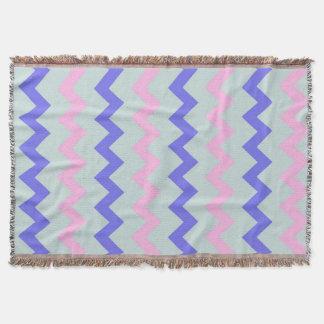 Large chevron pattern pink blue throw blanket