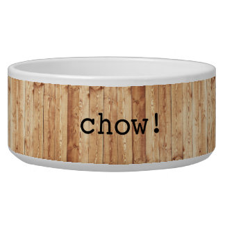 "Large ""chow!"" ceramic dog bowl - wood"