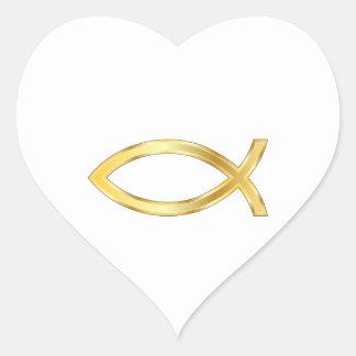 LARGE CHRISTIAN FISH HEART STICKER