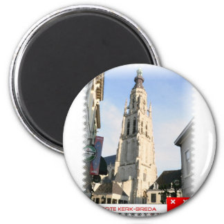 Large church, Breda, the Netherlands 6 Cm Round Magnet