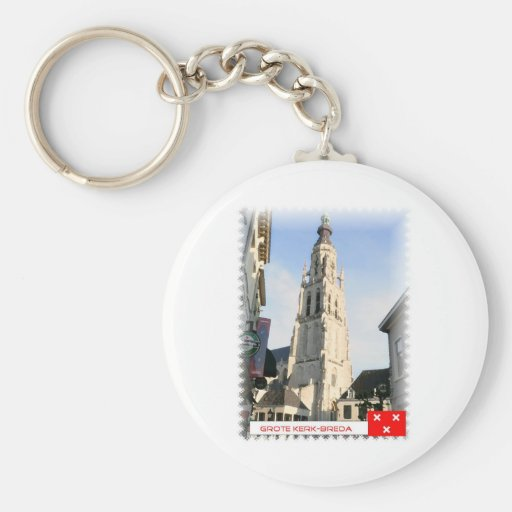 Large church, Breda, the Netherlands Key Chain
