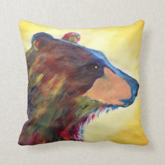 Large Colorful Abstract Bear Art Throw Pillow