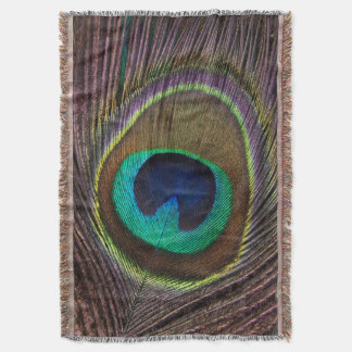 Large Colorful Peacock Feather Throw Blanket