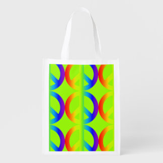 Large colourful rainbow peace signs on apple green reusable grocery bag