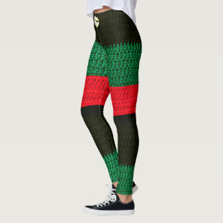 Large Cowrie Shell on Red Black and Green Crochet Leggings