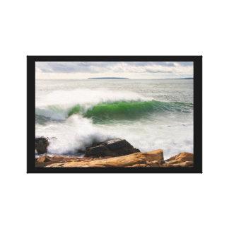 Large Crashing Waves Seascape Acadia National Park Gallery Wrapped Canvas