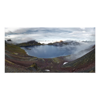 large crater lake of volcano. Kamchatka, Russia Photo Greeting Card