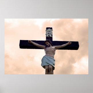 large crucifix in an irish graveyard poster