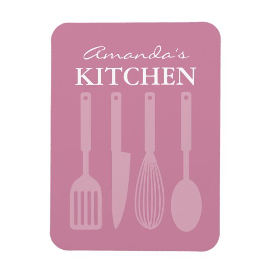 Large custom fridge magnet with kitchen utensils
