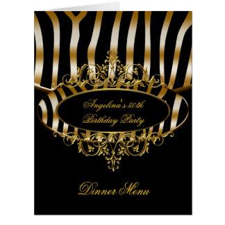 Large Dinner Menu Table Gold Zebra Black Greeting Cards