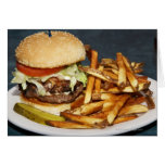 large double half pound burger fries and cola greeting card