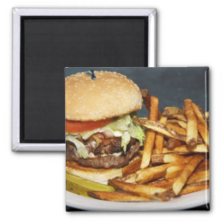 large double half pound burger fries and cola magnet