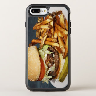 large double half pound burger fries and cola OtterBox symmetry iPhone 7 plus case