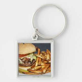 large double half pound burger fries and cola Silver-Colored square key ring
