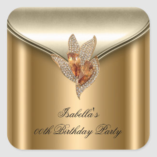 Large Elegant Bronze Brown Gold Birthday Party Square Sticker