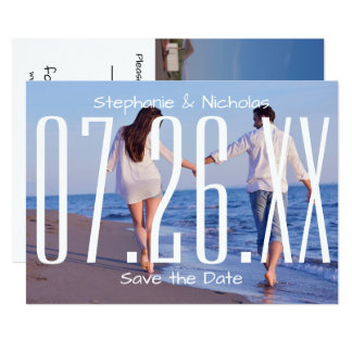 Large Empire Date & Photo - Wedding Save the Date Card