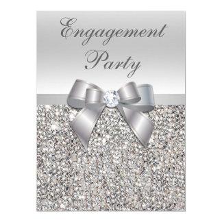 Large Engagement Party Faux Silver Sequins Bow 17 Cm X 22 Cm Invitation Card