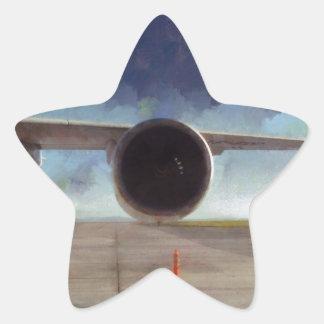 Large engine of plane star sticker