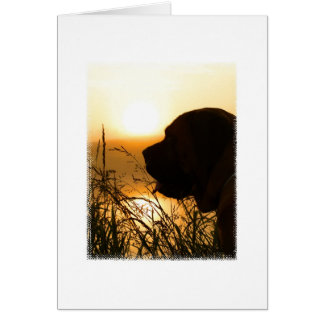 Large English Mastiff Silhouette at Sunrise Card
