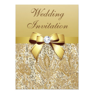 Large Faux Gold Sequins and Bow Wedding Card
