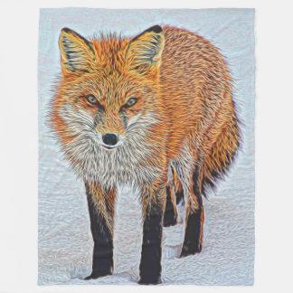 Large Fleece Blanket with Beautiful Fox Artwork