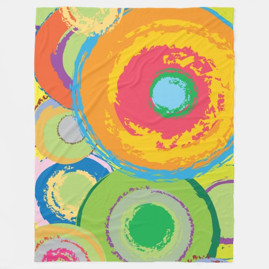 Large fleece blanket with bright swirly pattern
