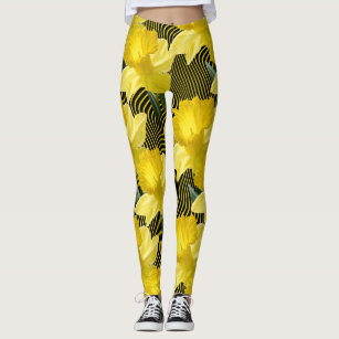 a9226cea1c Large Floral Daffodils Wavy Yellow Stripe on Black Leggings