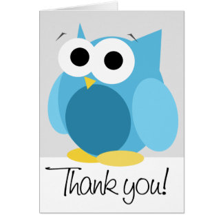 "Large Funny Blue Owl ""Thank you"" Note Card"