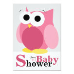 Large Funny Pink Owl Baby Shower Invitations