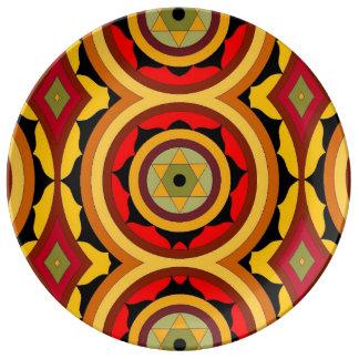 Large geometric colourful porcelain plate