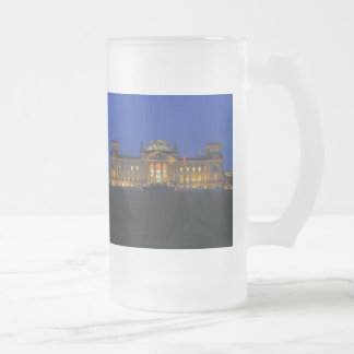 Large glass cup Berlin Reichstag in the evening Frosted Glass Mug