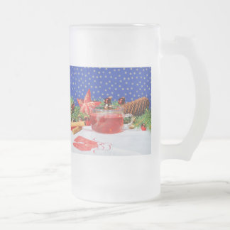 Large glass cup with Christmas motive