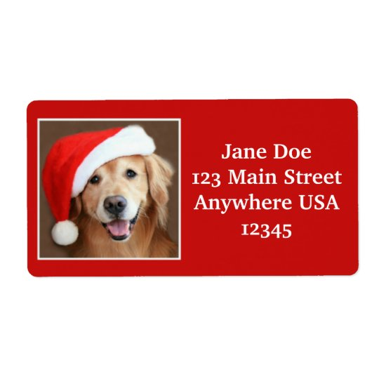 Large Golden Retriever With Santa Hat Shipping Label